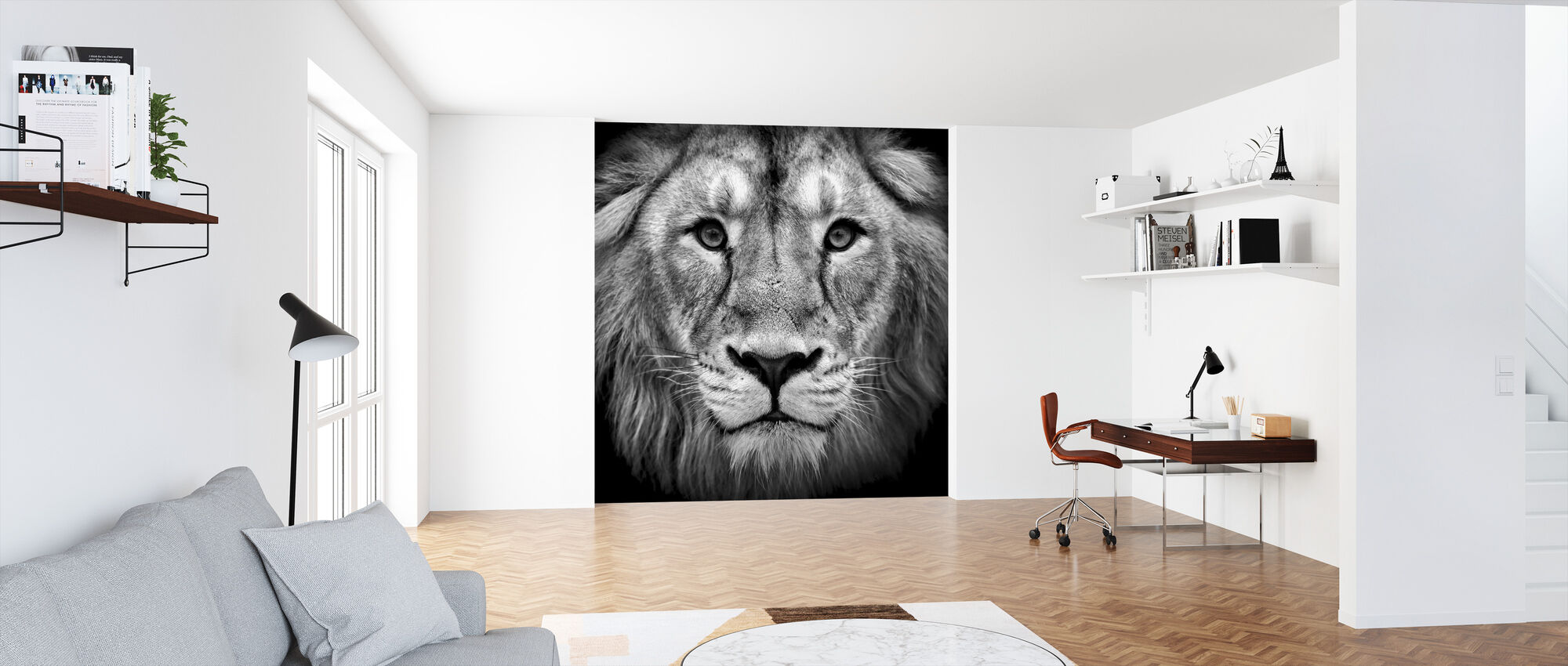 Wise Lion, black and white - Wallpaper - Office
