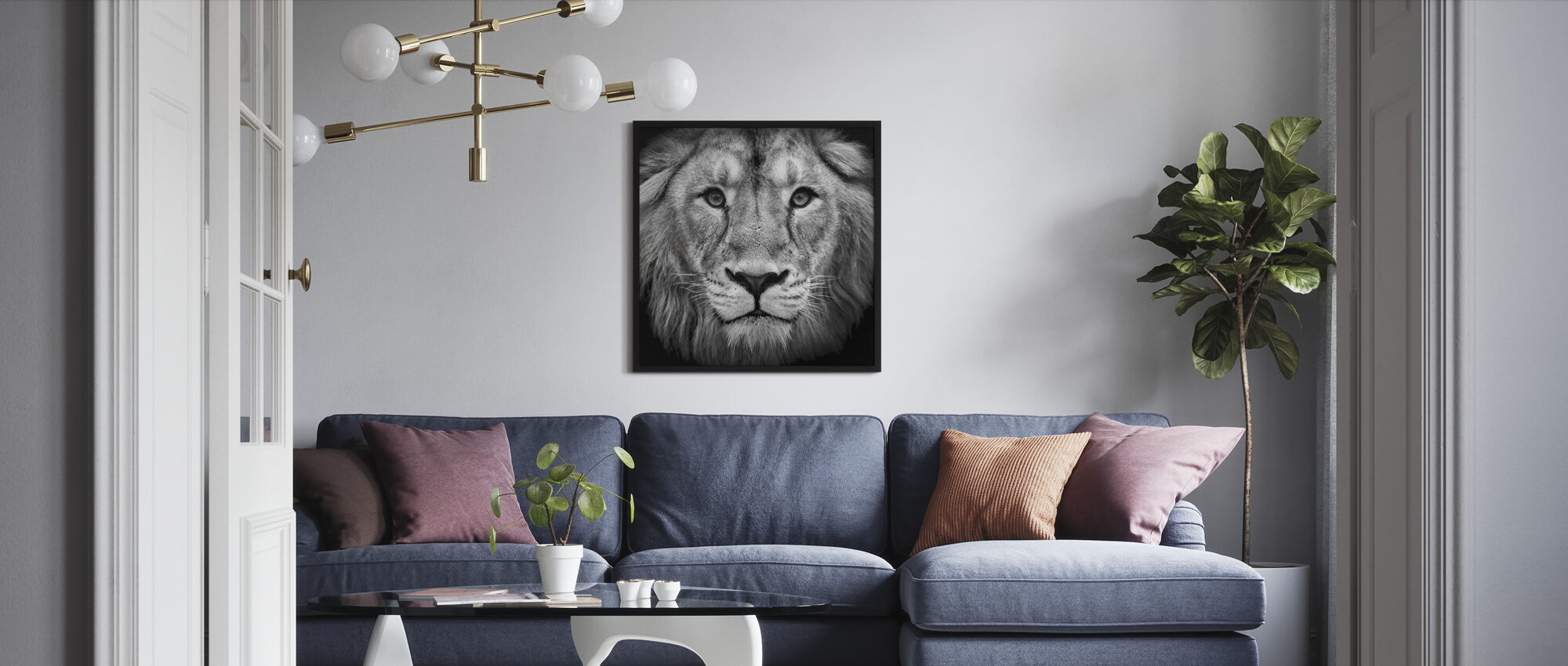 Wise Lion, black and white - Framed print - Living Room