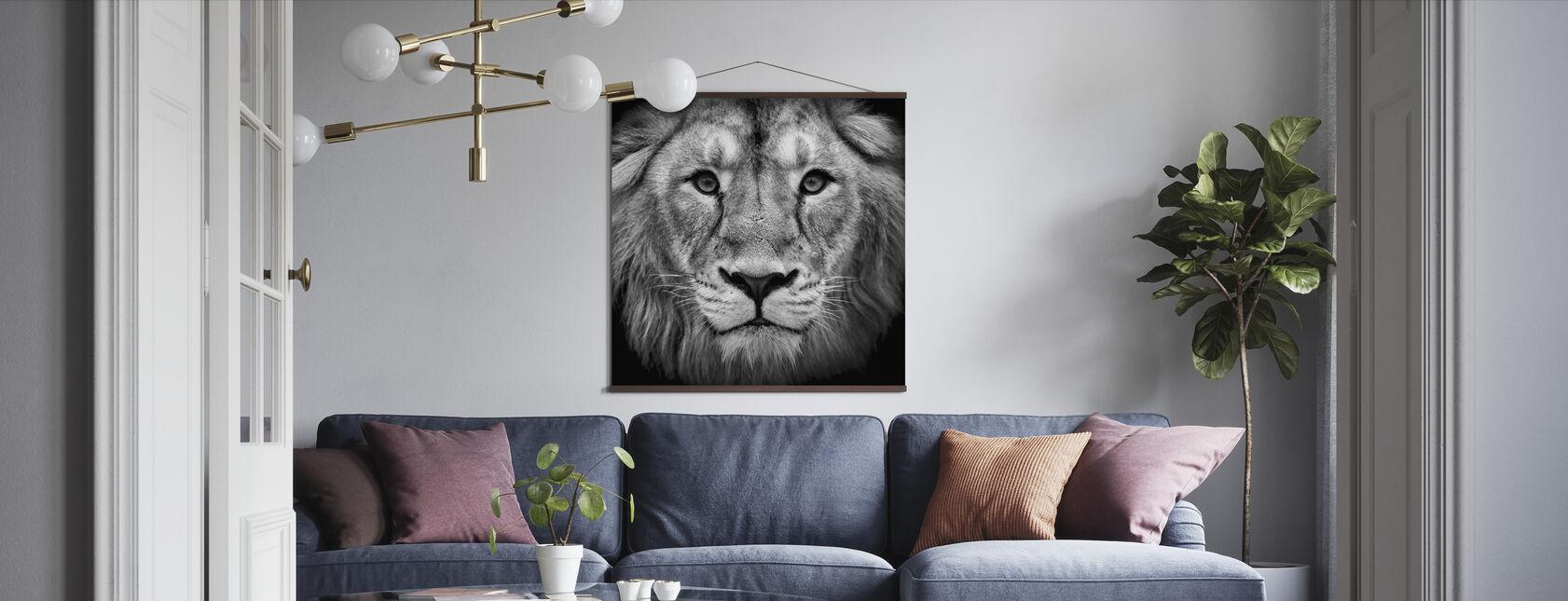 Wise Lion, sort og hvid - Plakat - Stue