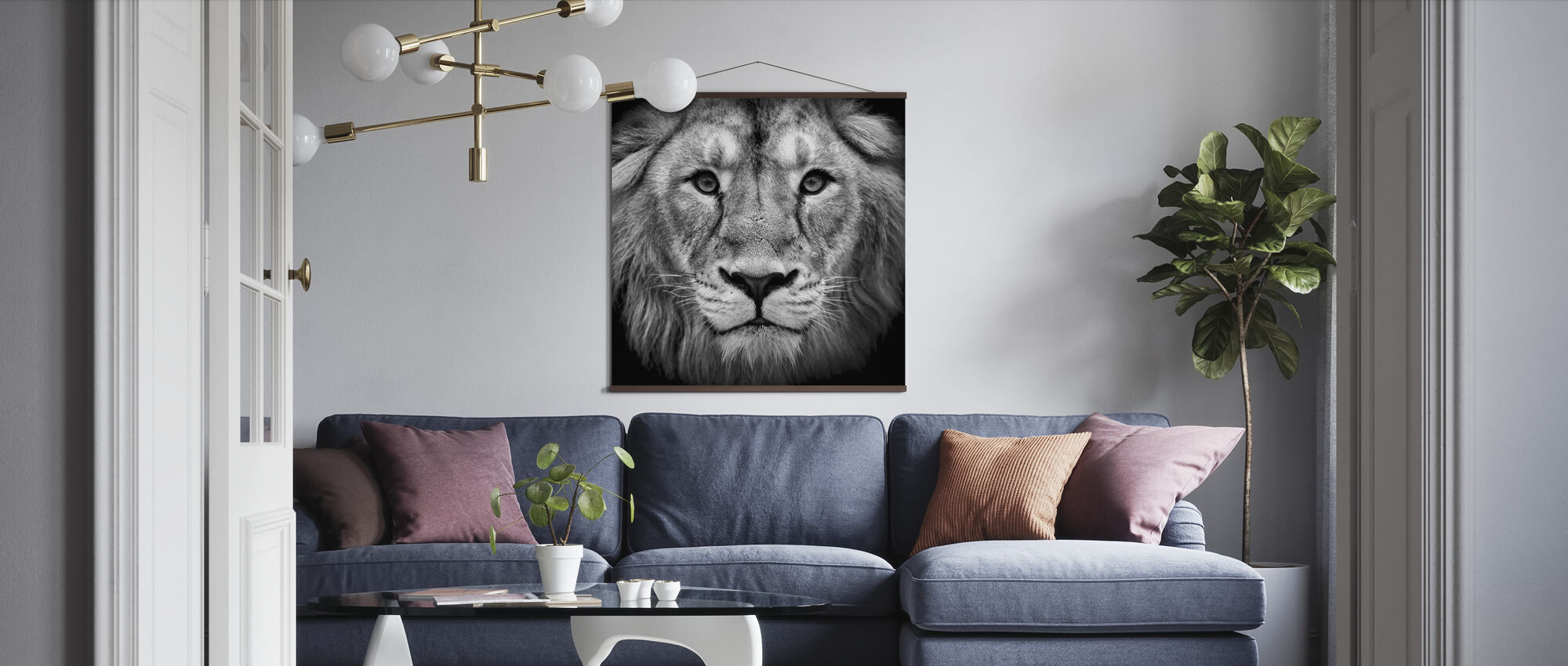 Wise Lion, black and white - Poster - Living Room