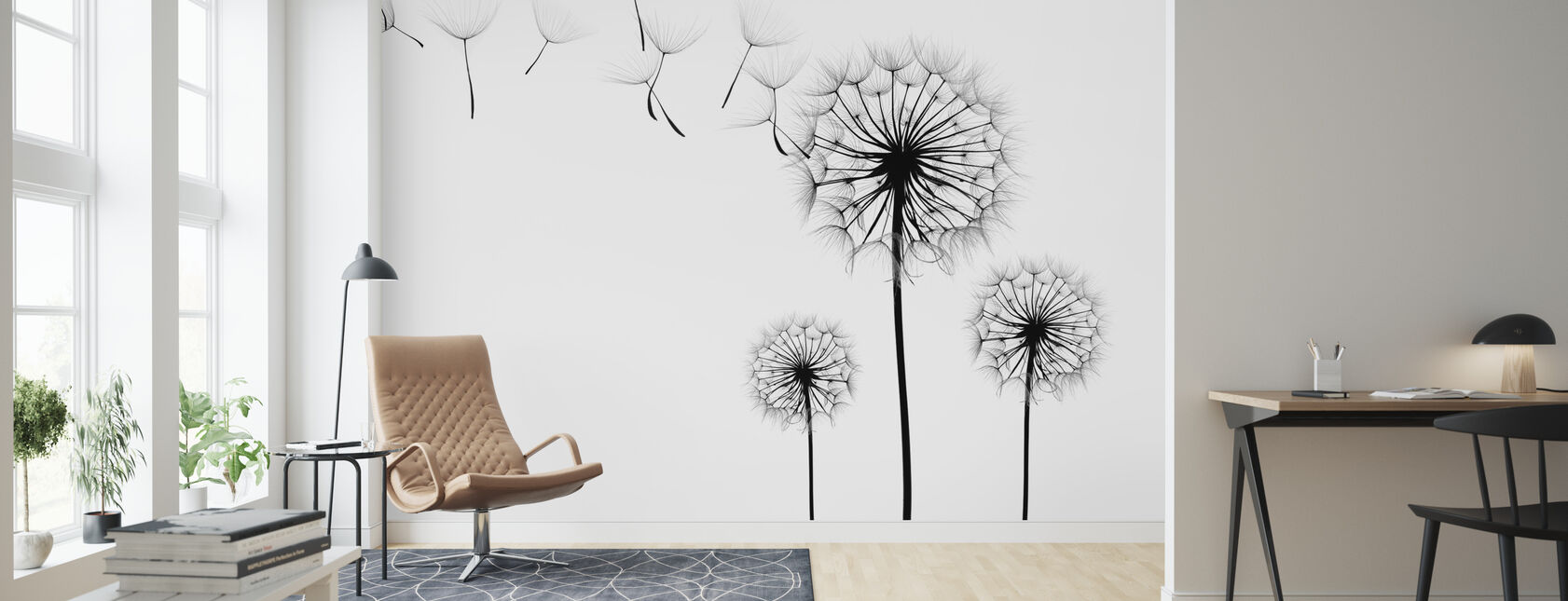 Silhouette of Dandelions Seeds, black and white - Wallpaper - Living Room
