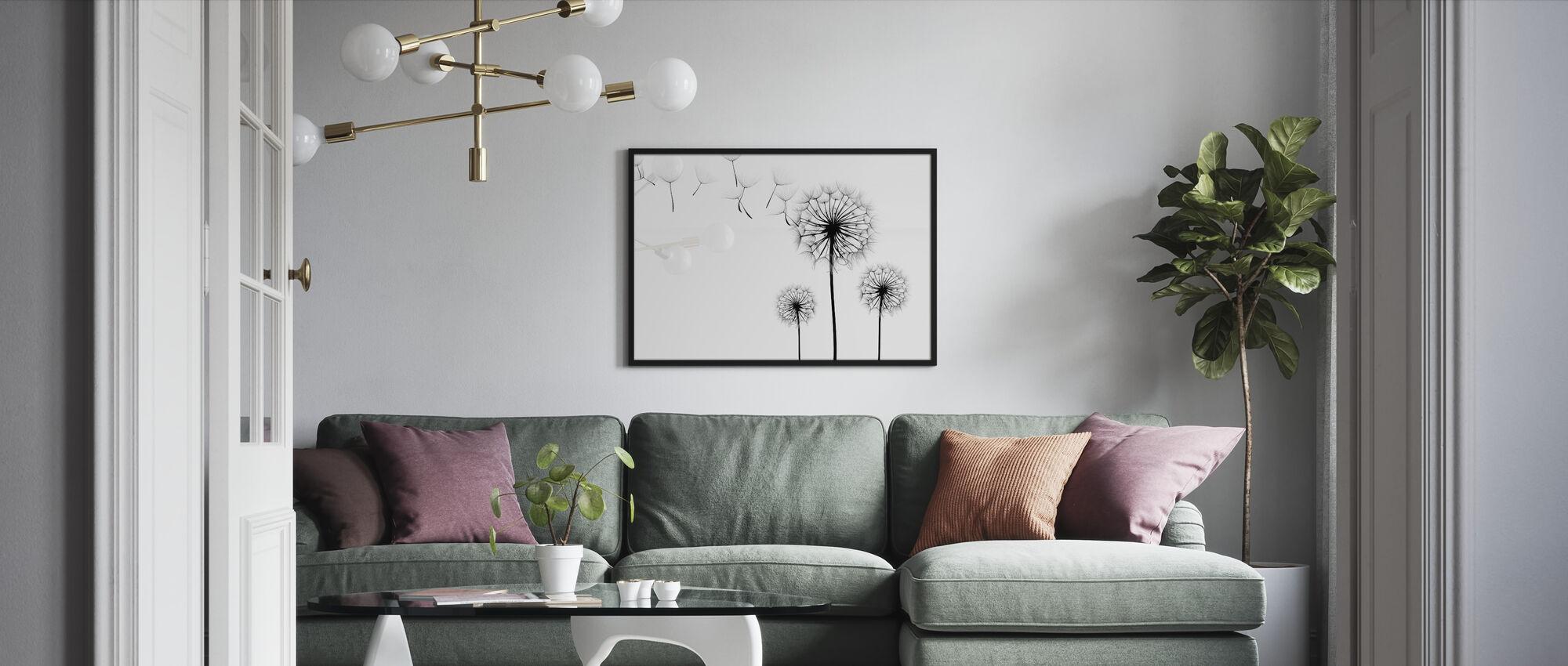 Silhouette of Dandelions Seeds, black and white - Framed print - Living Room