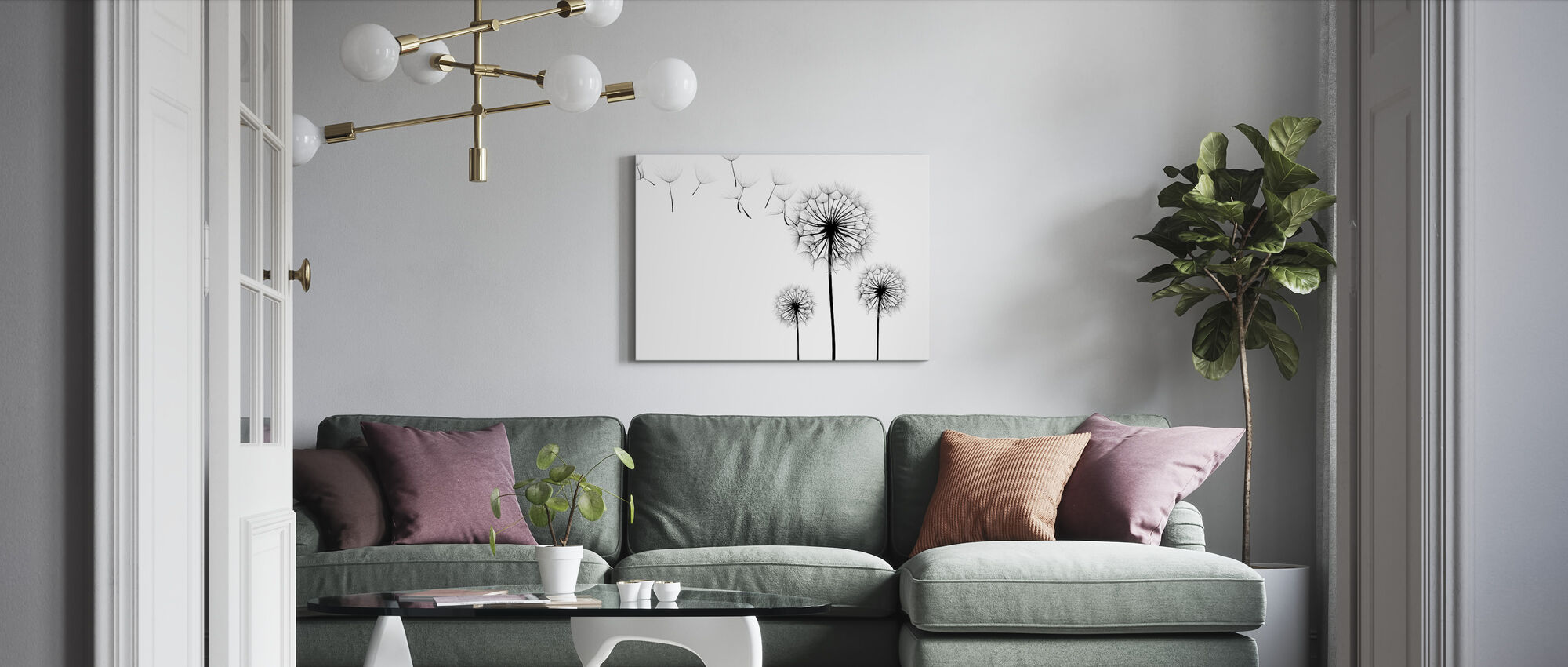 Silhouette of Dandelions Seeds, black and white - Canvas print - Living Room