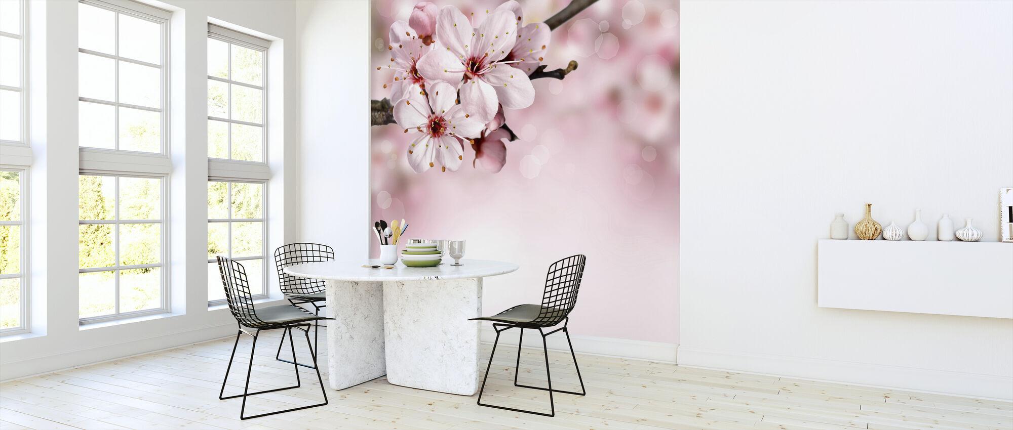 Lente grens kersenbloesem - Behang - Keuken