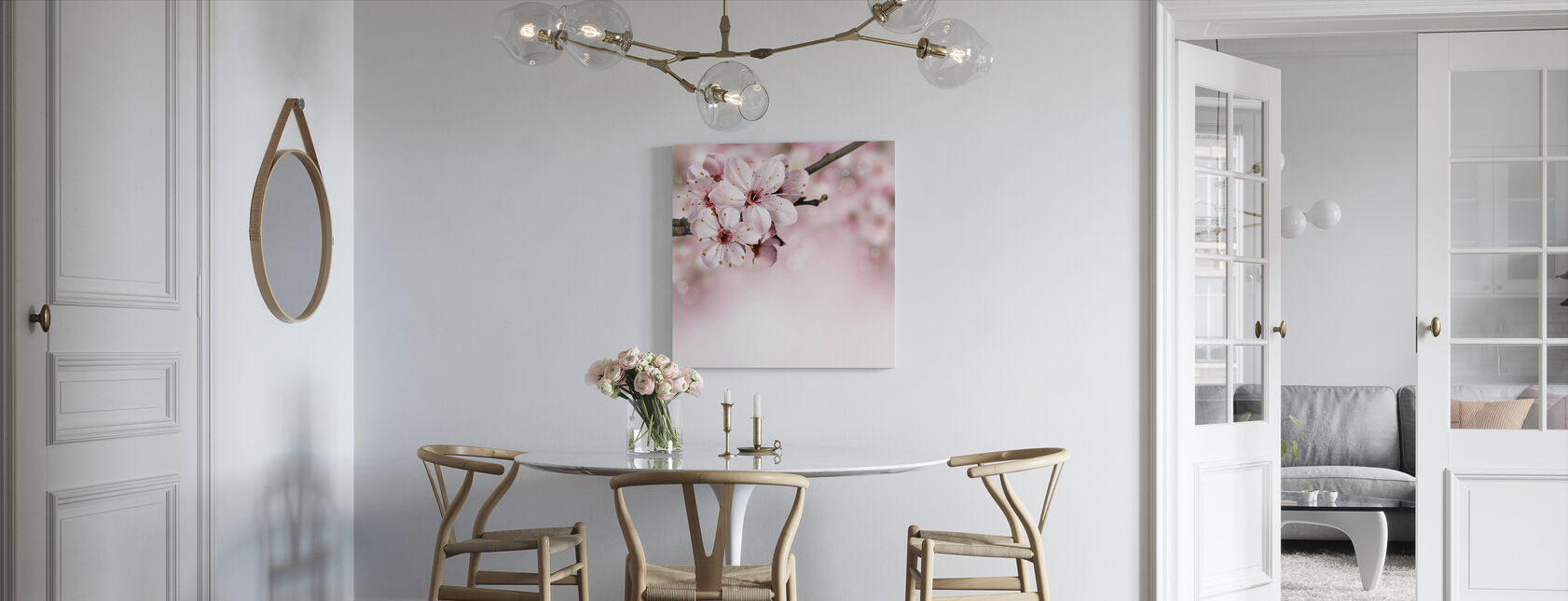 Våren Border Kirsebærblomst - Lerretsbilde - Kjøkken