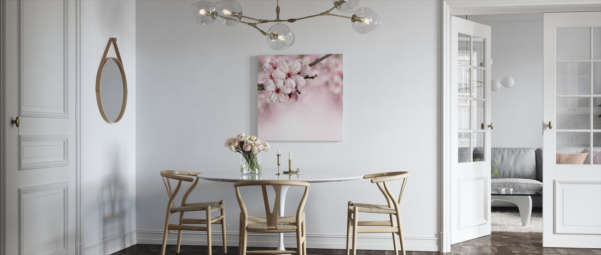 Spring Border Cherry Blossom - Canvas print - Kitchen