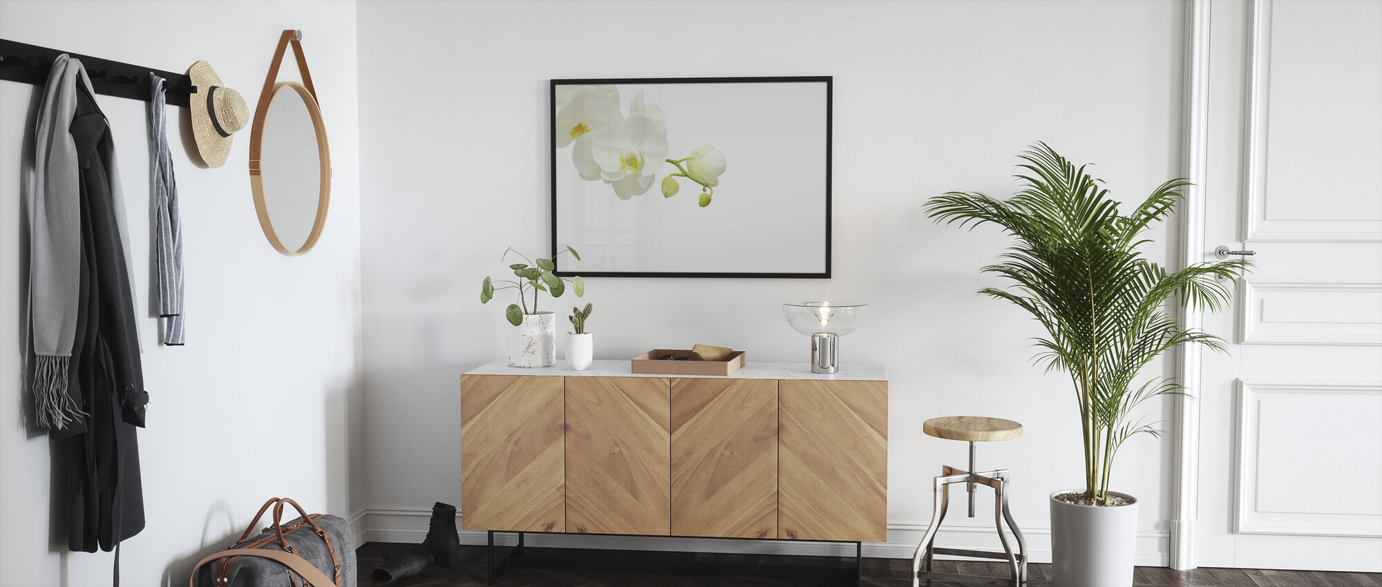White Elegant Orchid - Framed print - Hallway