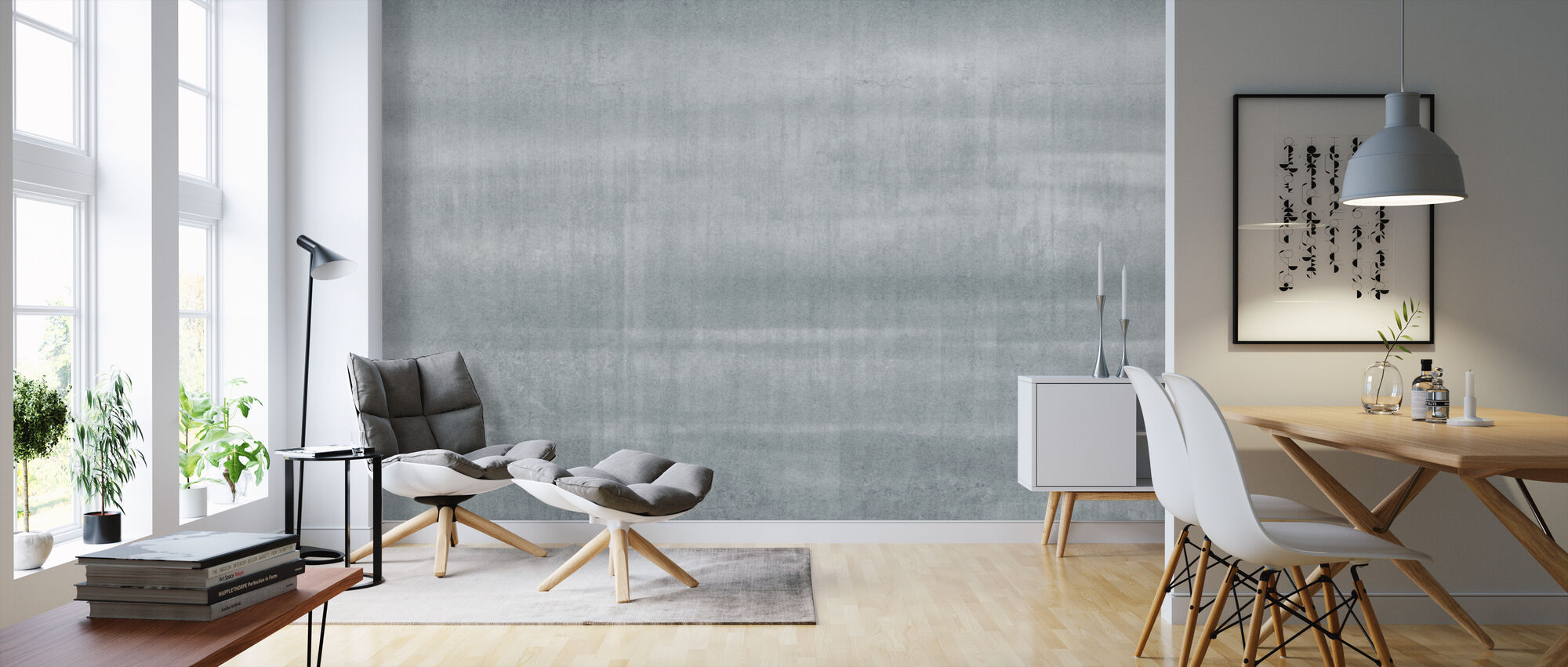 Smooth Concrete Wall - Wallpaper - Living Room