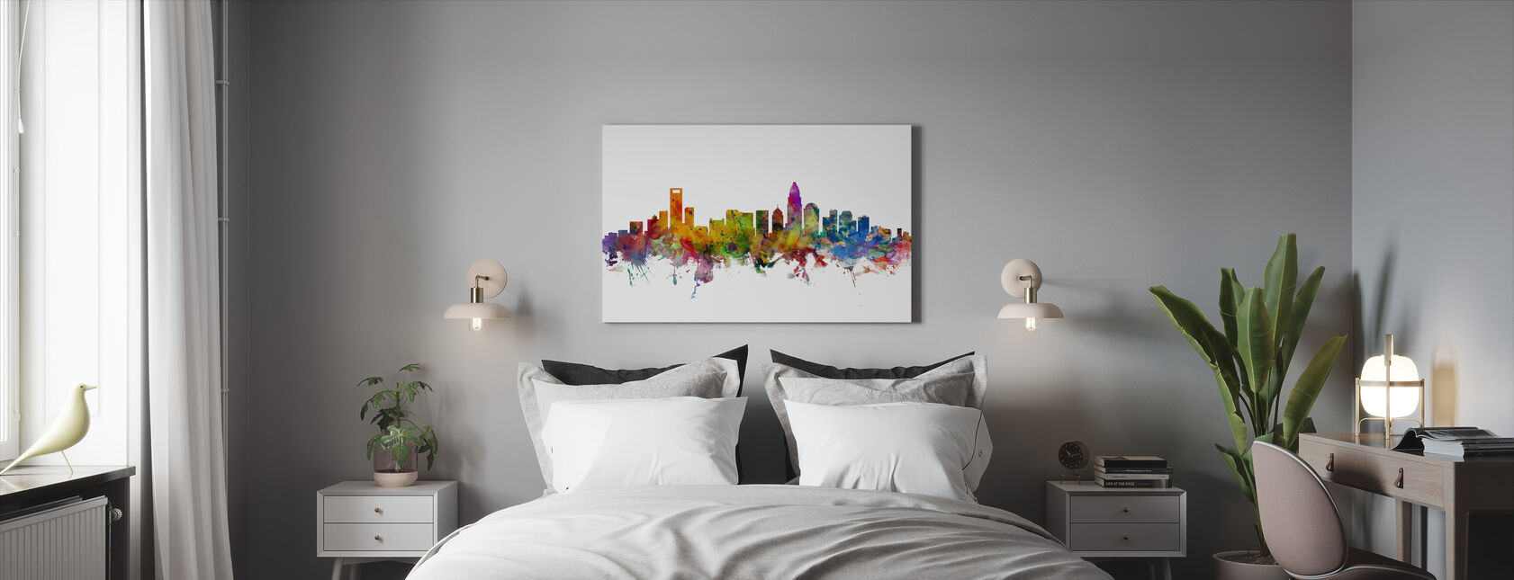 Charlotte North Carolina Skyline - Canvas print - Bedroom