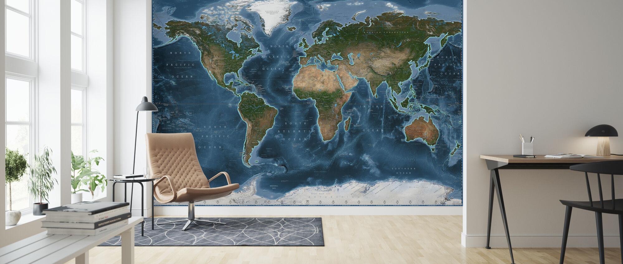 Satelite Karte - Tapete - Wohnzimmer