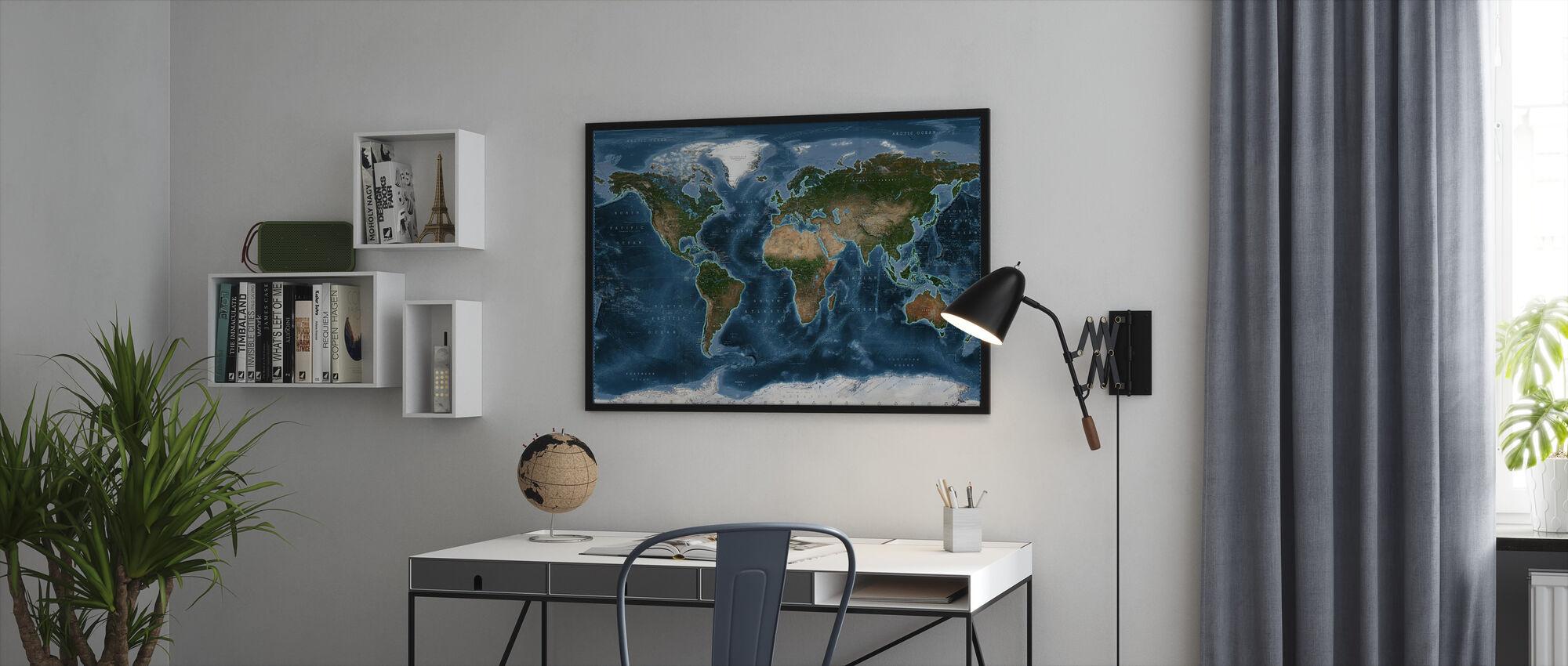 Satelite Map - Framed print - Office