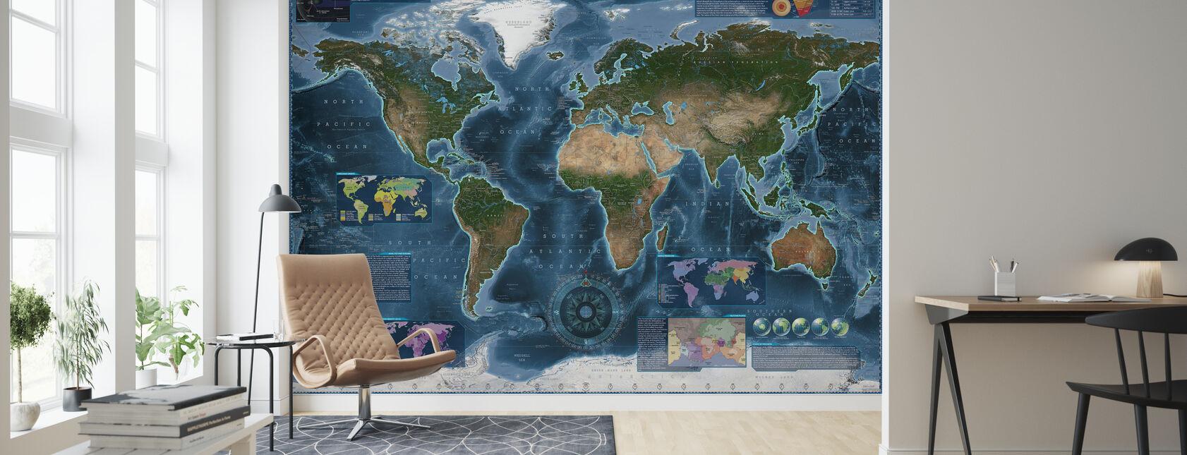 Satelite Mapa Infograficzna - Tapeta - Pokój dzienny