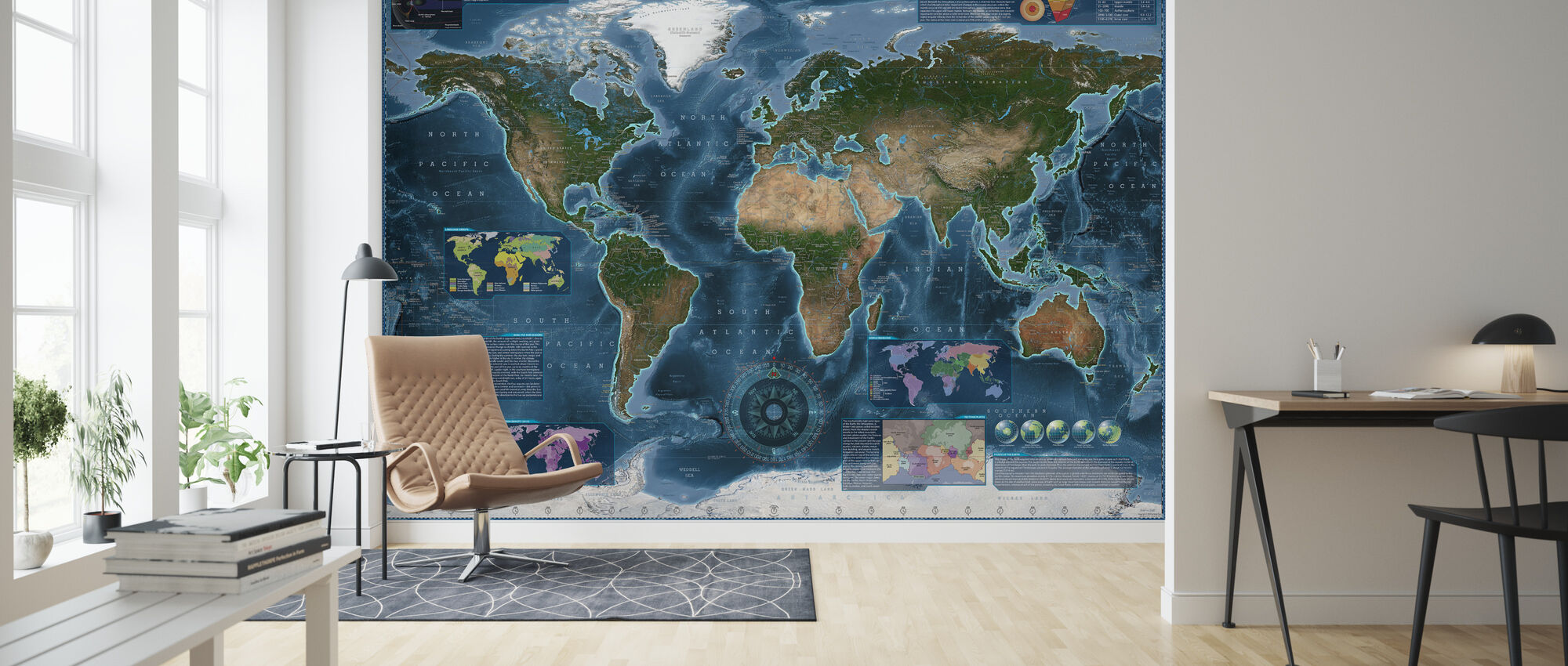 Satelite Map Infographic - Wallpaper - Living Room