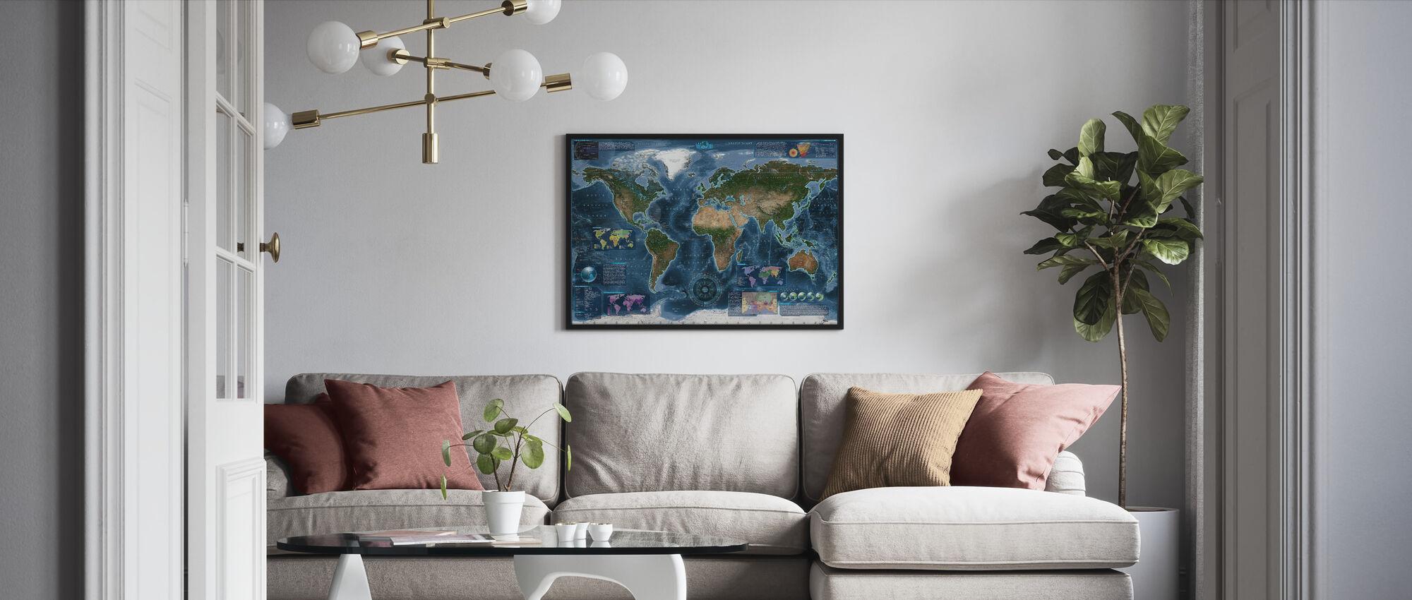 Satelite Map Infographic - Framed print - Living Room