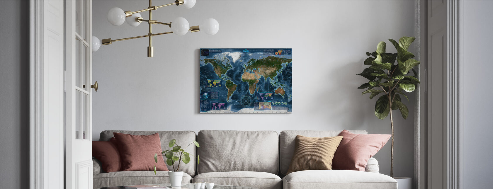 Satelite Map Infographic - Canvas print - Living Room