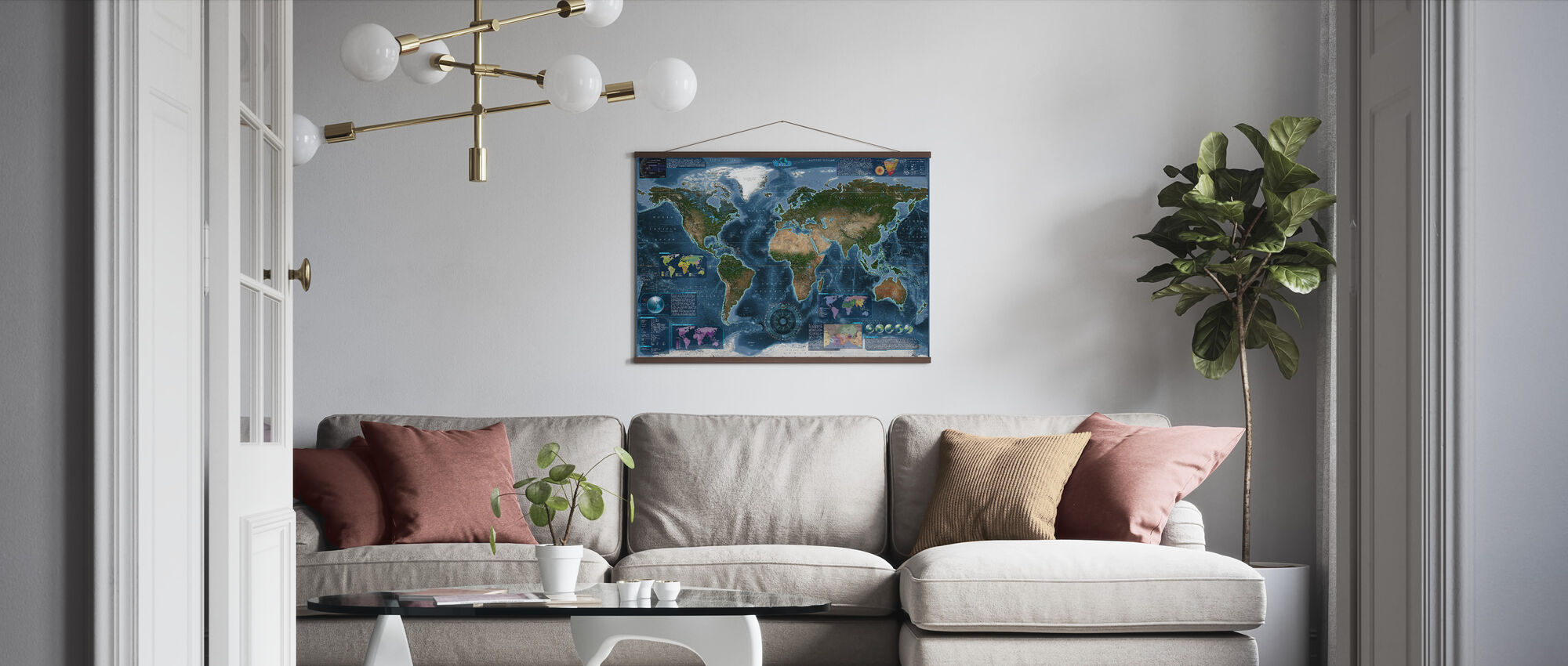 Satelite Map Infographic - Poster - Living Room