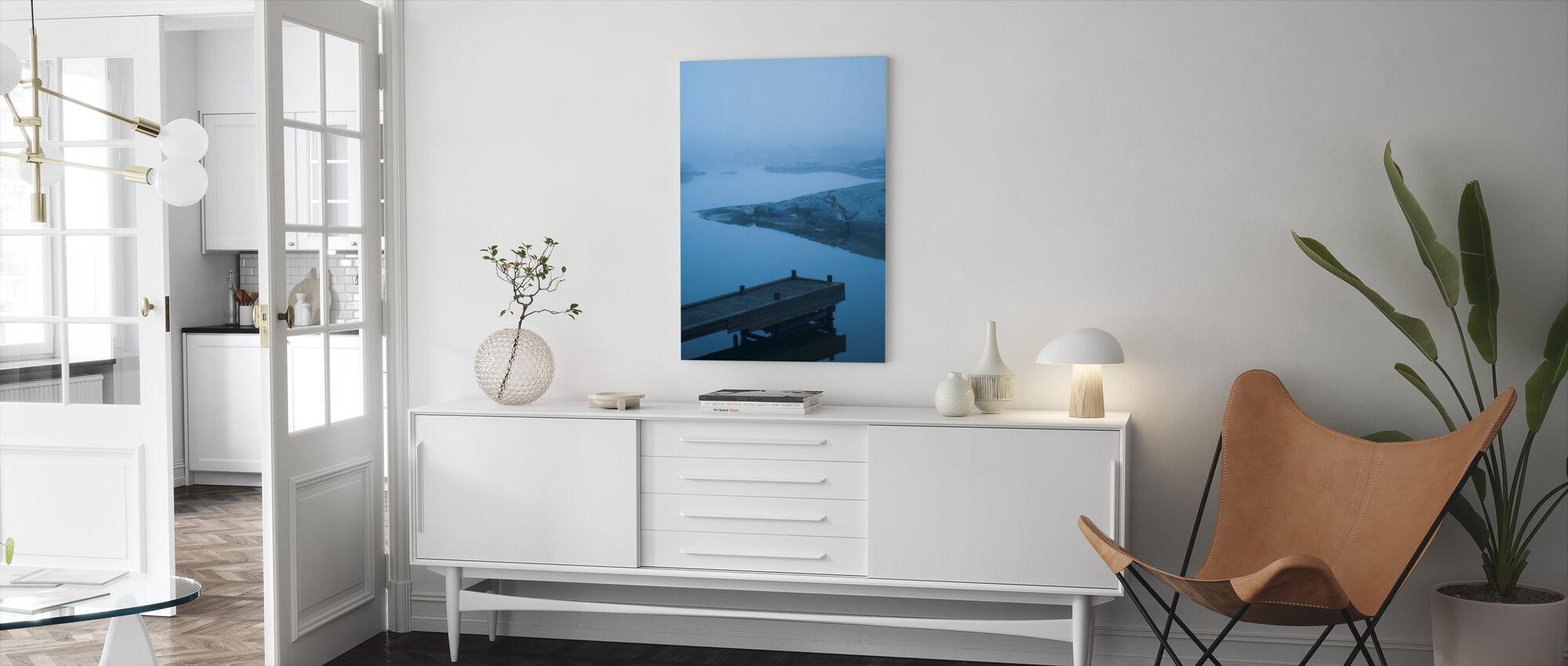 Blue Boardwalk in Uppland, Sweden, Europe - Canvas print - Living Room