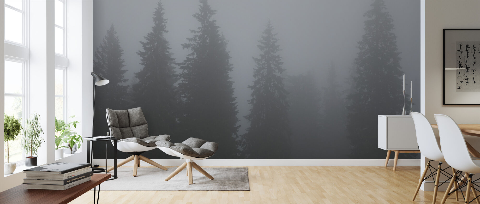 Fir Trees in Furudal, Sweden, Europe - Wallpaper - Living Room