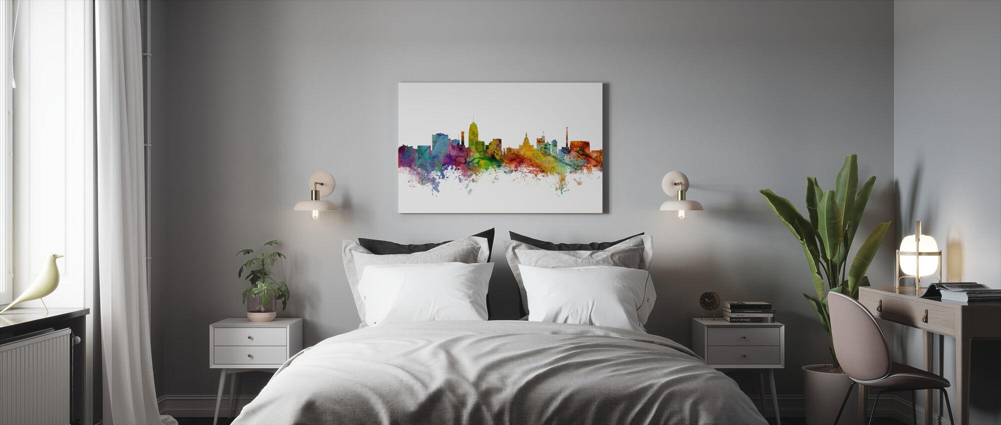 Skyline van Lansing Michigan - Canvas print - Slaapkamer