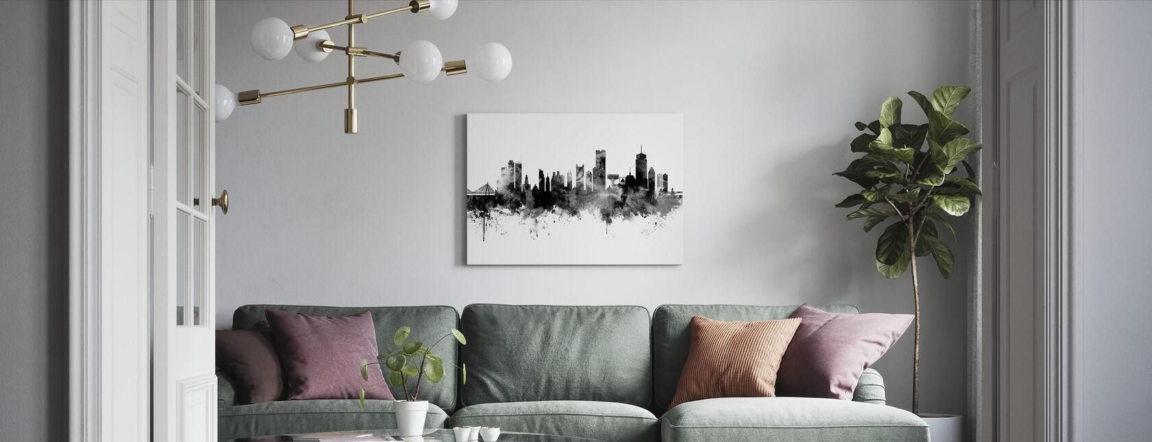 Boston Massachusetts Skyline, black and white - Canvas print - Living Room