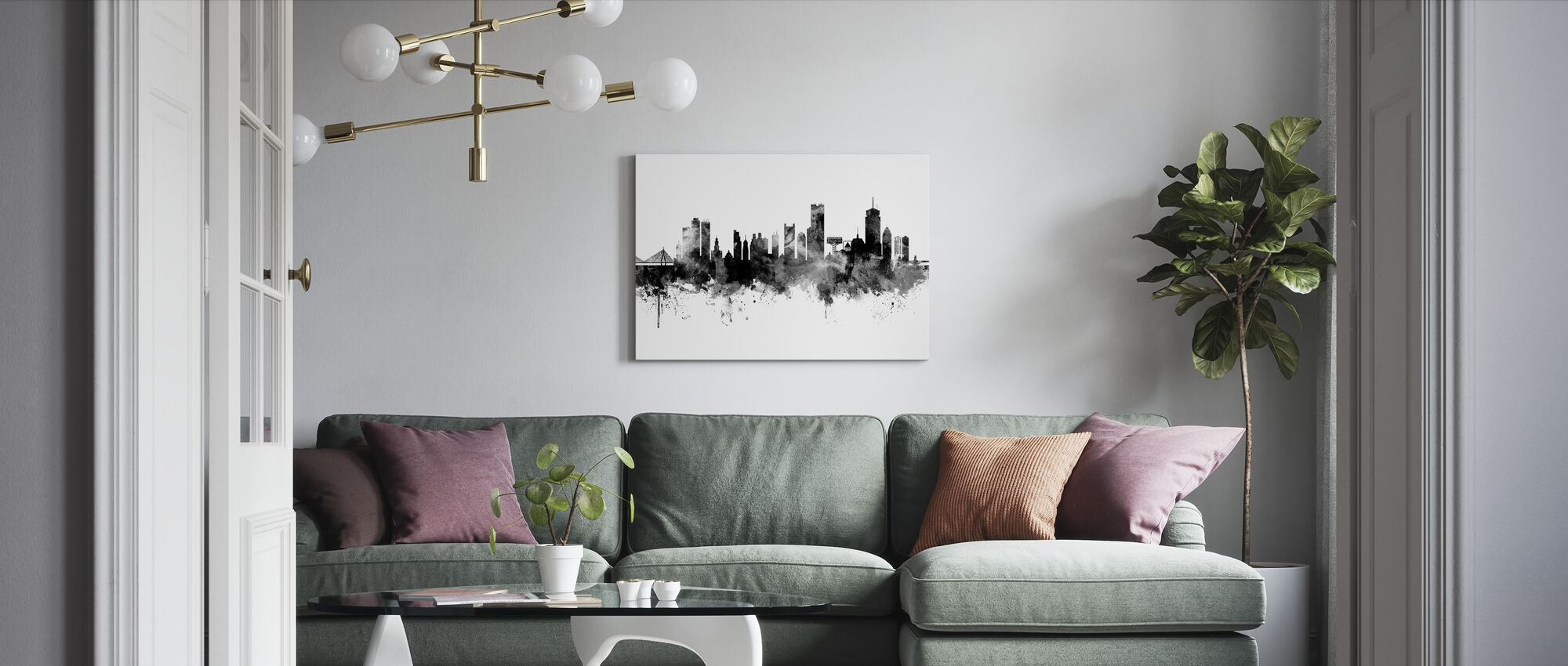 Boston Massachusetts Skyline, black and white - Canvas print - Living Room