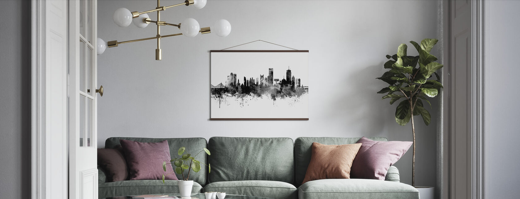 Boston Massachusetts Skyline, black and white - Poster - Living Room