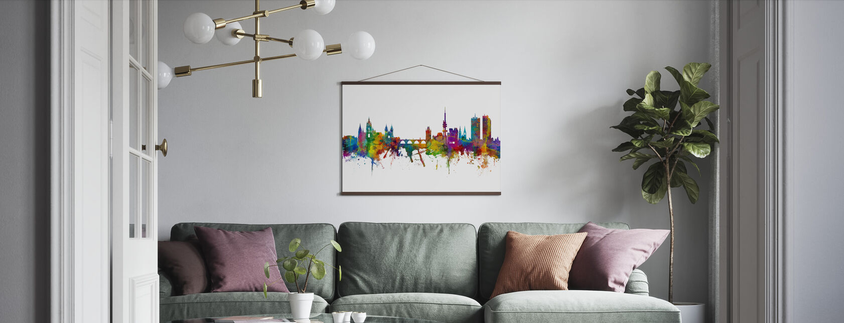 Prague Skyline - Poster - Living Room