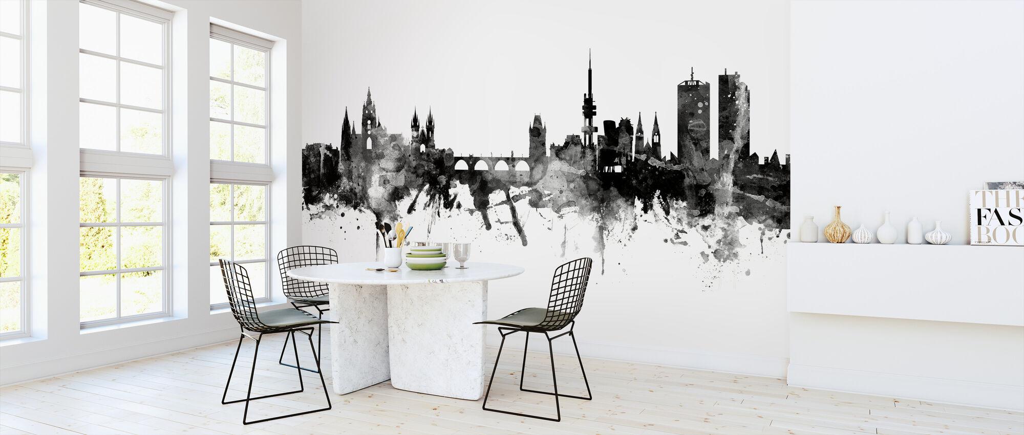 Prager Skyline, schwarz/weiß - Tapete - Küchen
