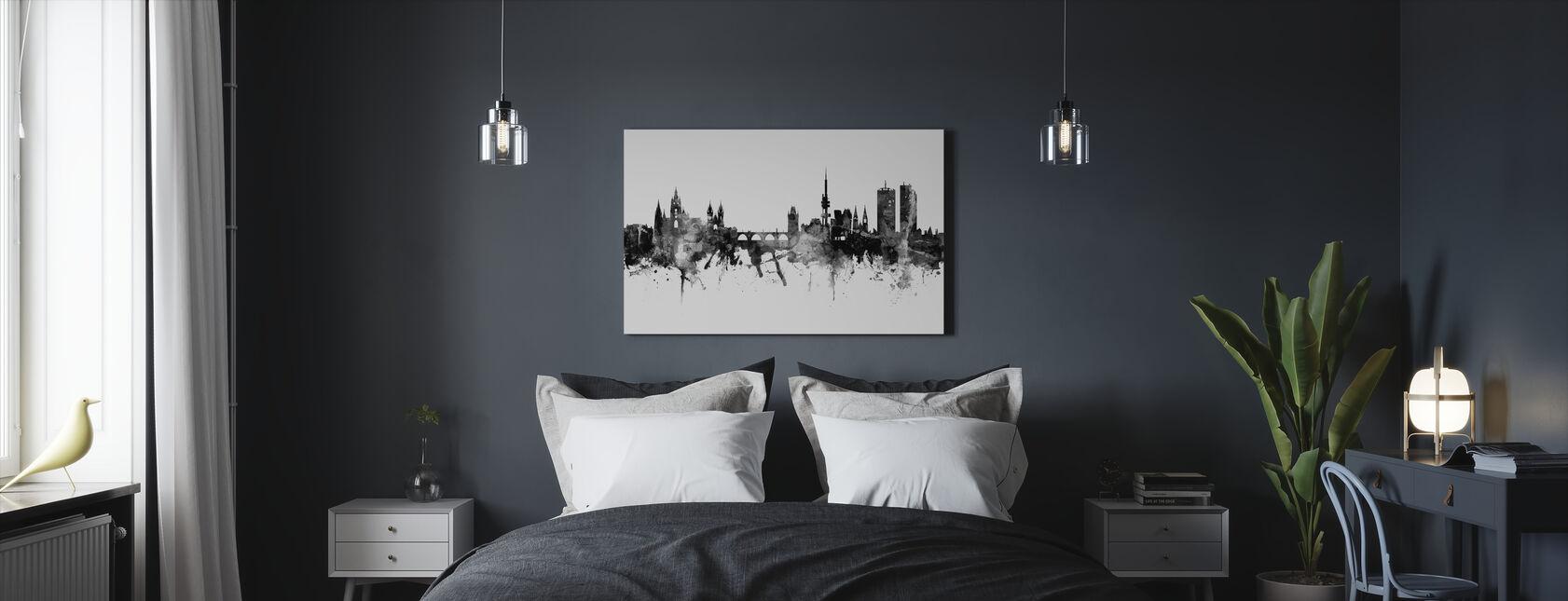 Prag Skyline, svart och vitt - Canvastavla - Sovrum