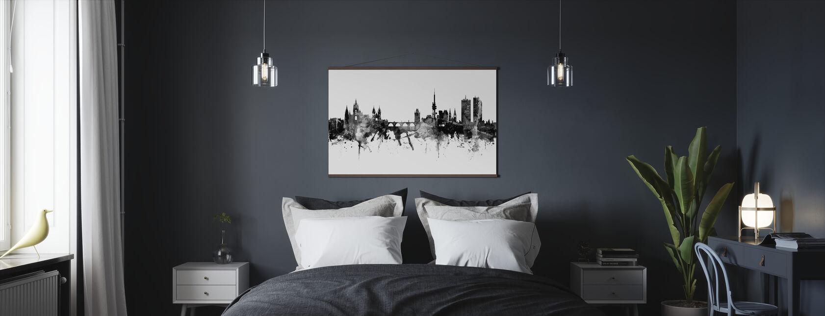 Prague Skyline, black and white - Poster - Bedroom