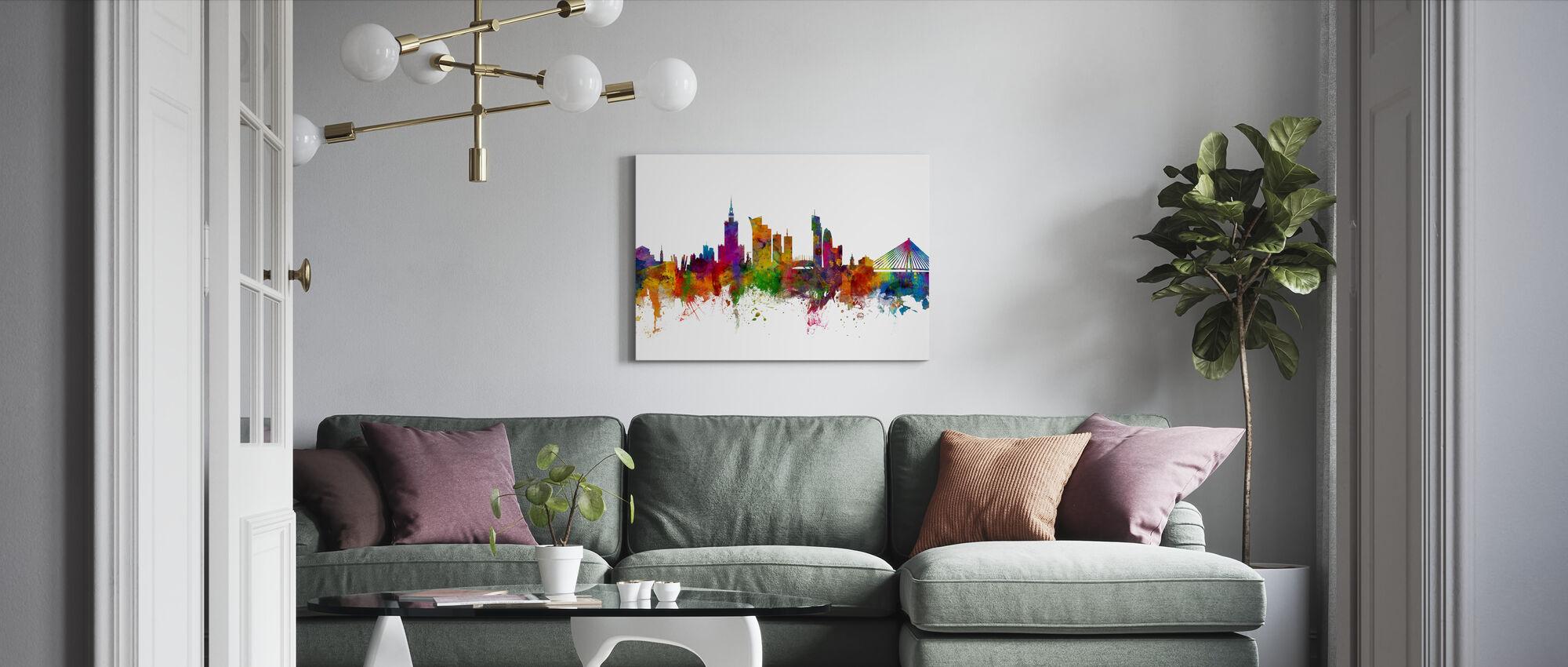 Warsaw Skyline - Canvas print - Living Room
