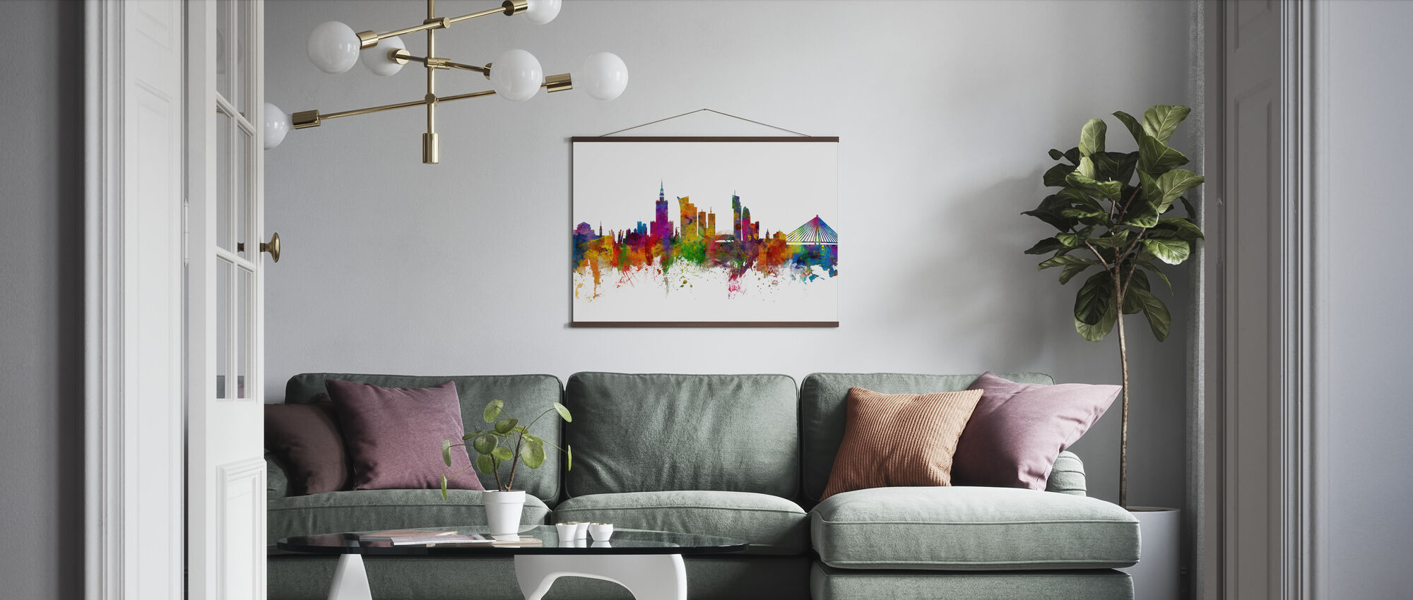Warsaw Skyline - Poster - Living Room
