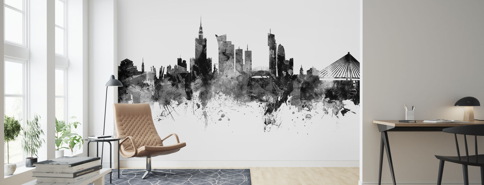 Warsaw Skyline, black and white - Wallpaper - Living Room