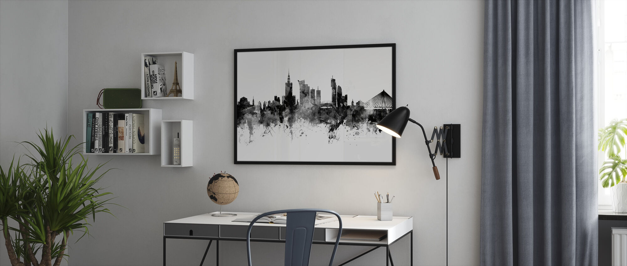 Warsaw Skyline, black and white - Framed print - Office