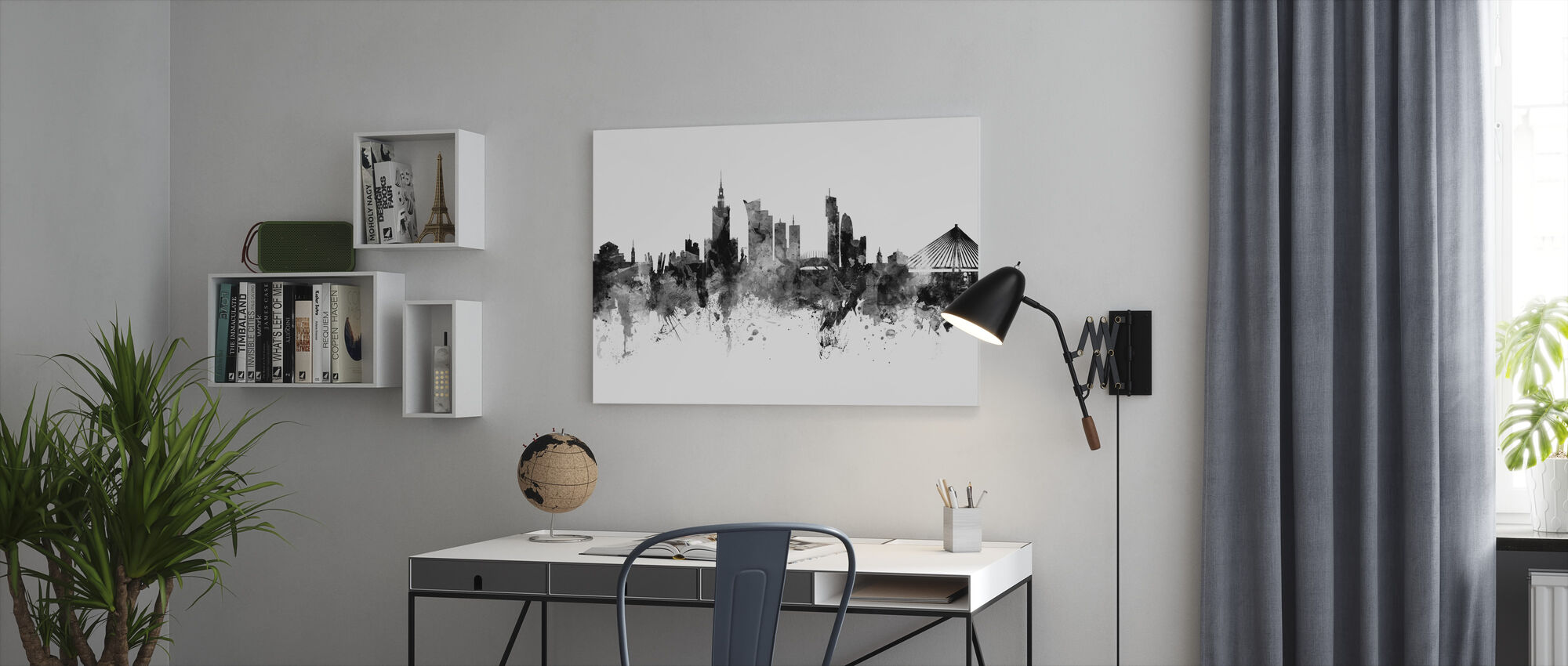 Warsaw Skyline, black and white - Canvas print - Office