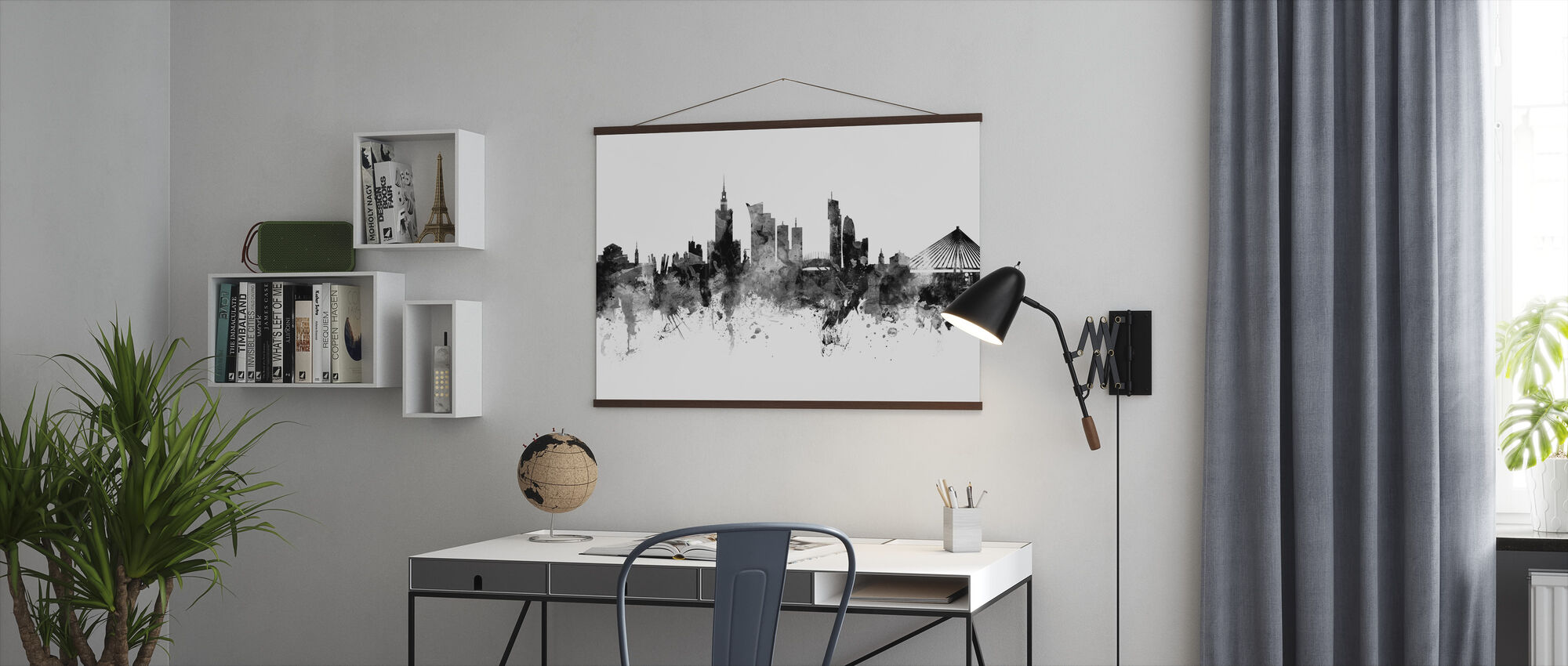 Warsaw Skyline, black and white - Poster - Office