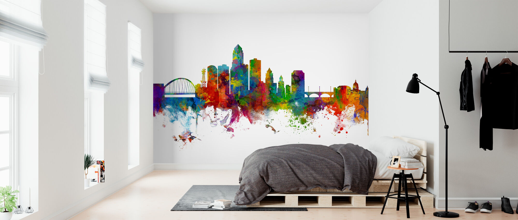 Des Moines Iowa Skyline - Wallpaper - Bedroom