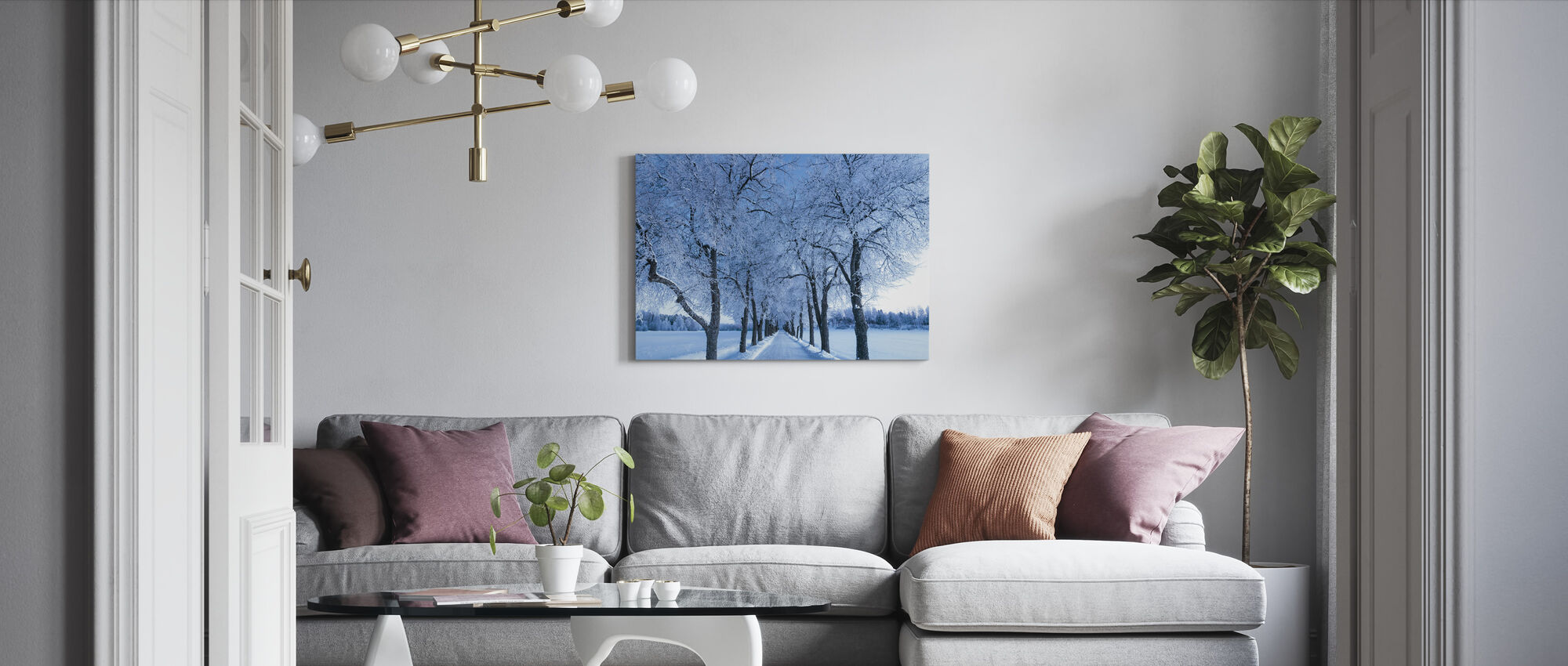 Rural Road on a Cold Day, Sweden - Canvas print - Living Room