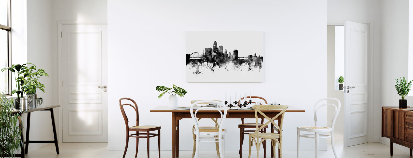 Des Moines Iowa Skyline, black and white - Canvas print - Kitchen