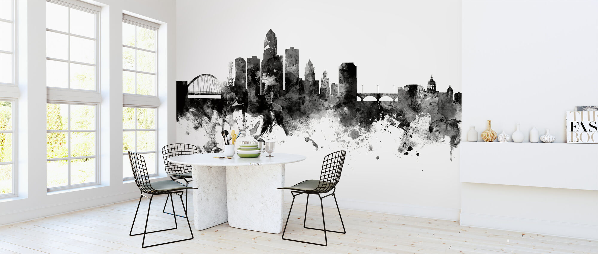 Des Moines Iowa Skyline, black and white - Wallpaper - Kitchen