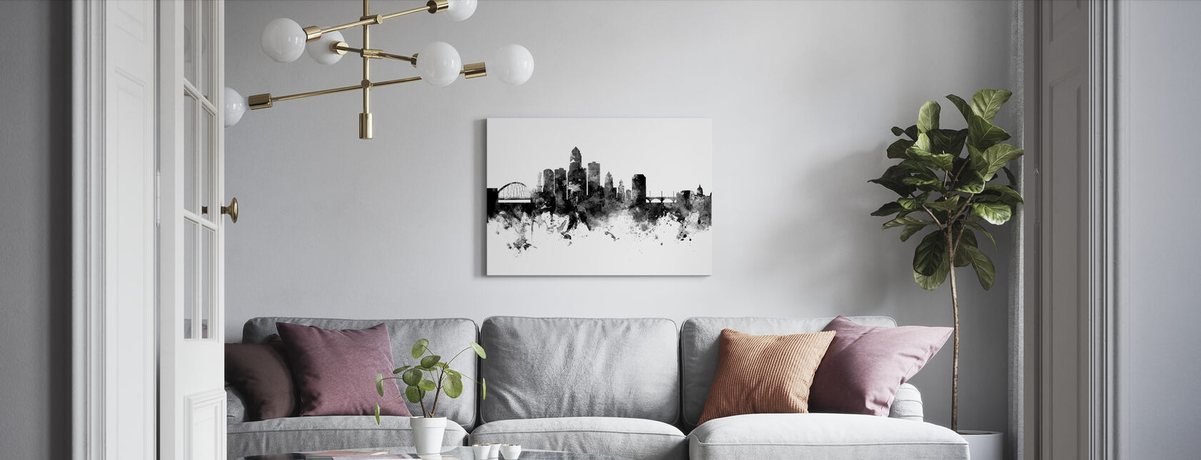 Des Moines Iowa Skyline, zwart-wit - Canvas print - Woonkamer