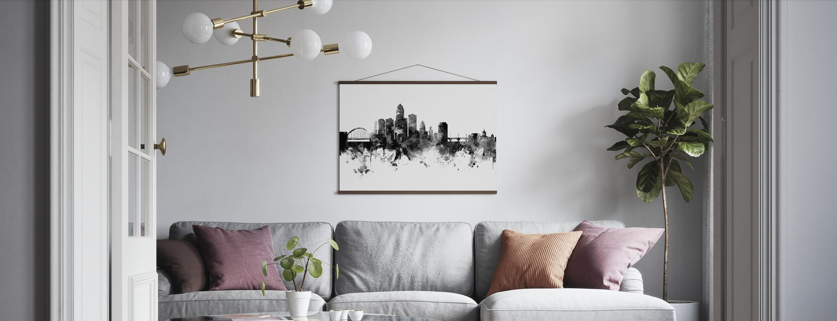 Des Moines Iowa Skyline, black and white - Poster - Living Room