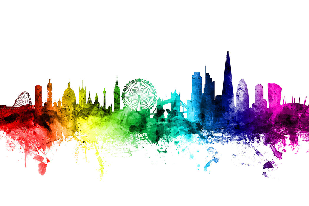 London Skyline Rainbow Made To Measure Wall Mural Photowall