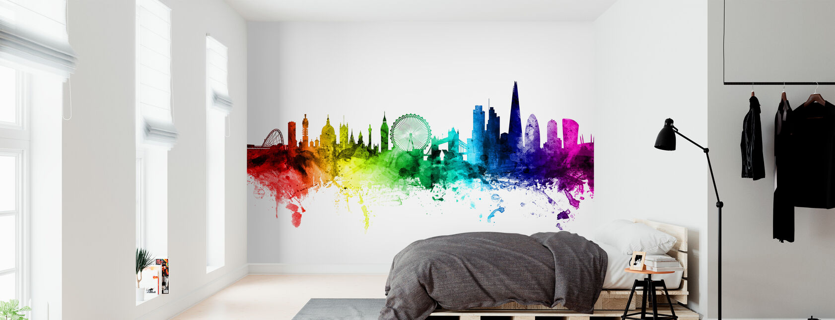 London Skyline Rainbow - Wallpaper - Bedroom