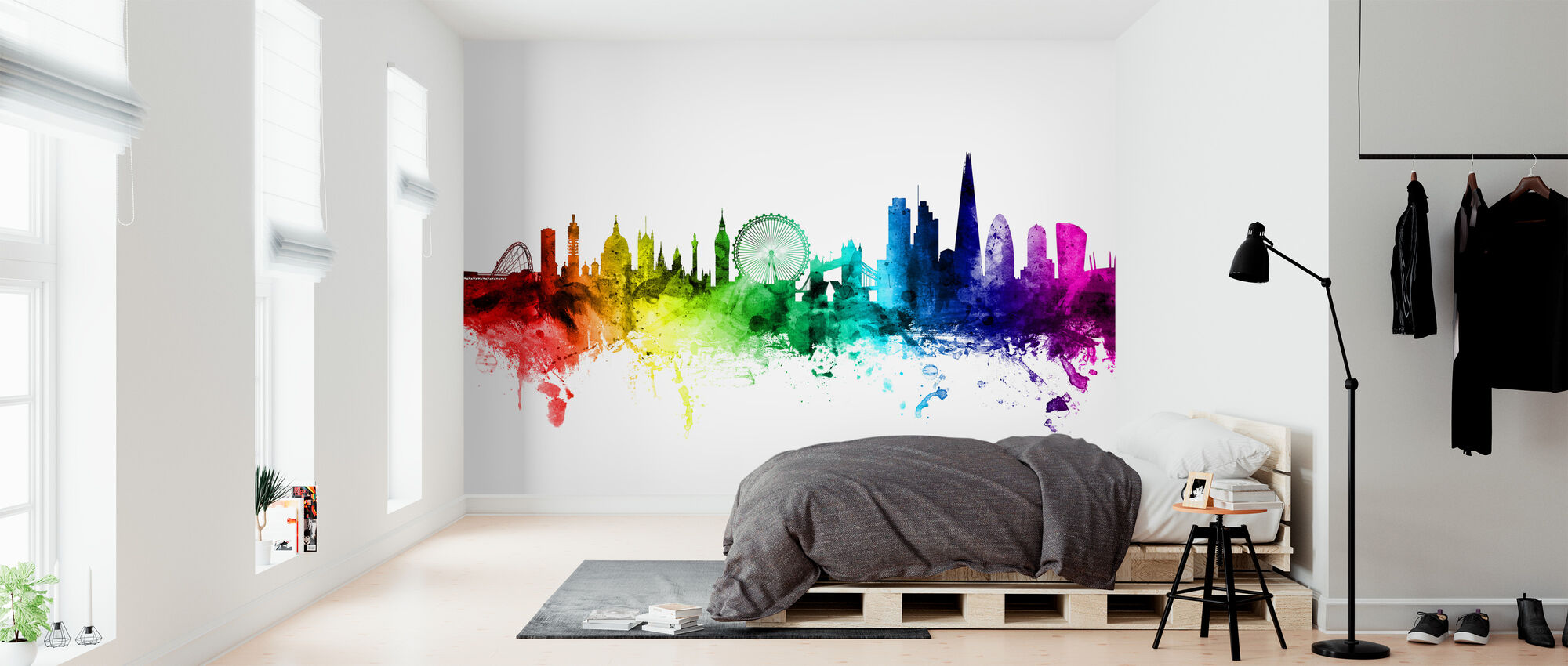 London Skyline Rainbow - Behang - Slaapkamer