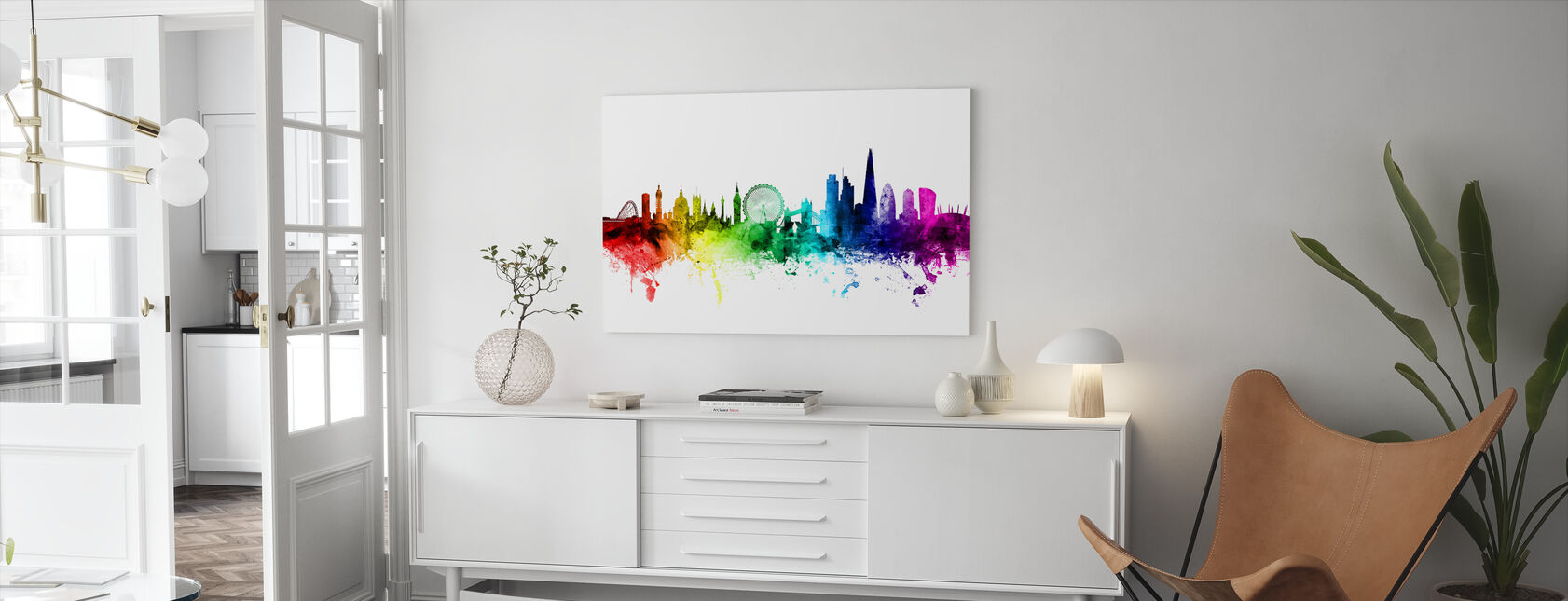 London Skyline Rainbow - Canvas print - Living Room
