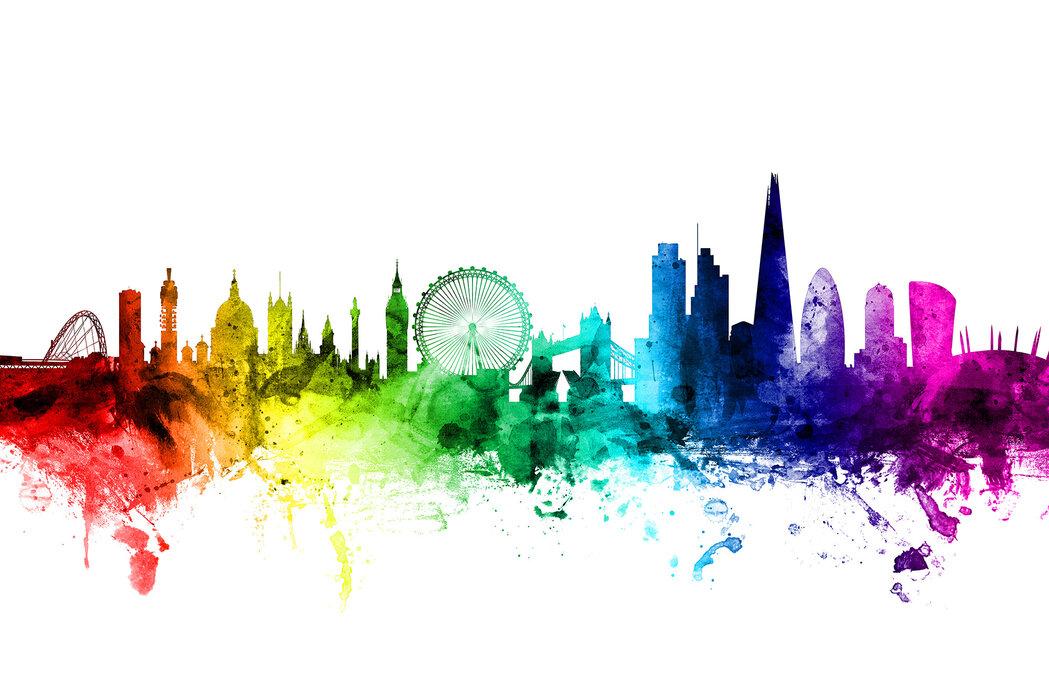 London Skyline Rainbow Made To Measure Wall Mural Photowall