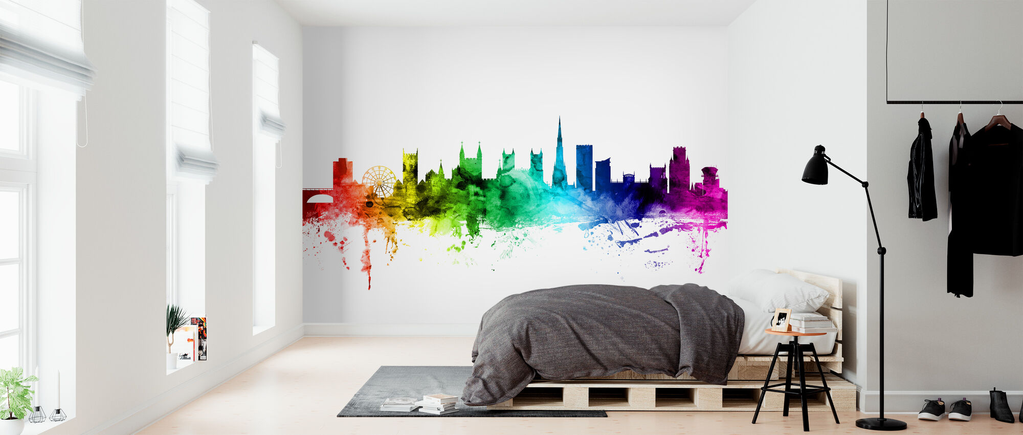 Bristol Skyline Rainbow - Wallpaper - Bedroom