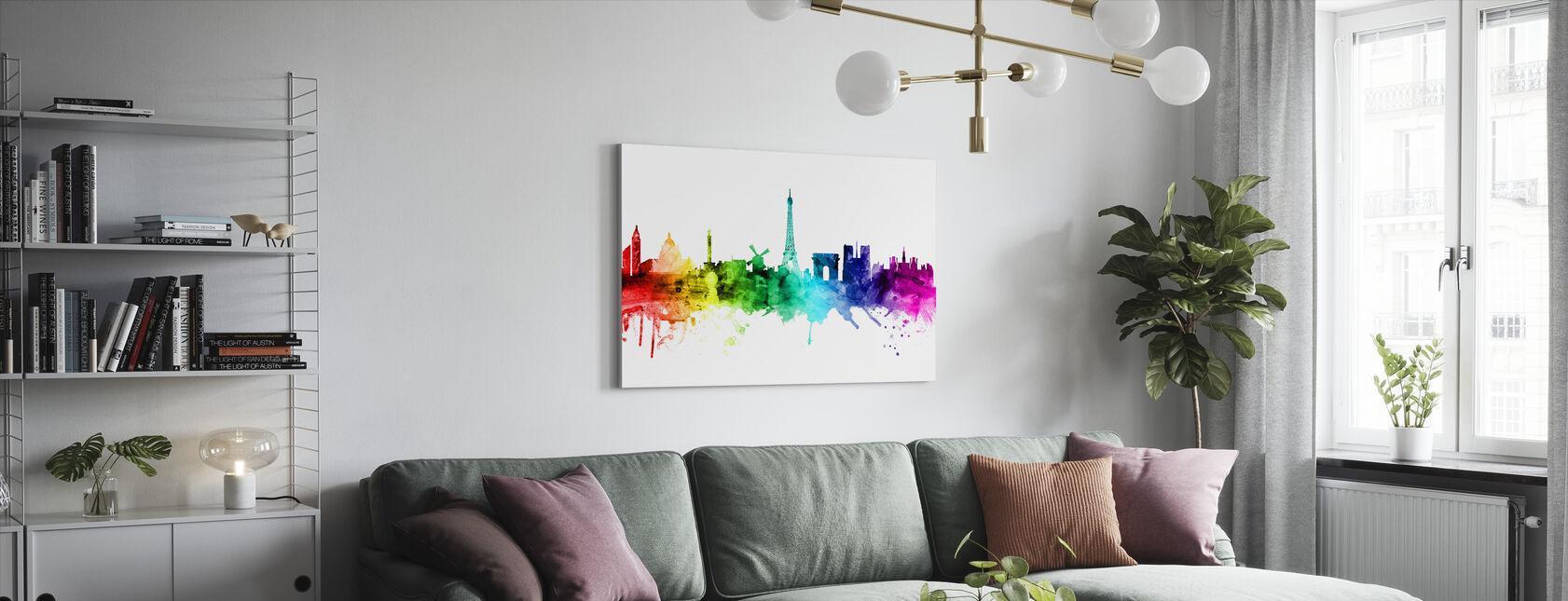 Paris Skyline Rainbow - Canvas print - Living Room