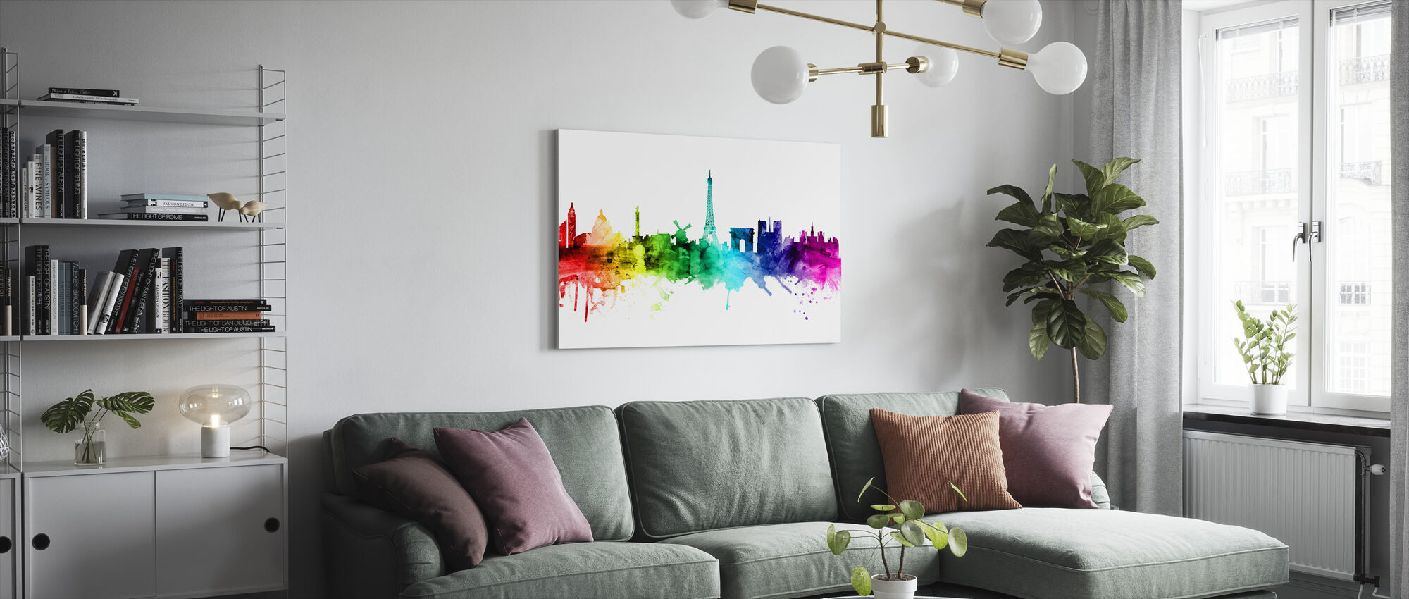 Parijse Skyline Rainbow - Canvas print - Woonkamer